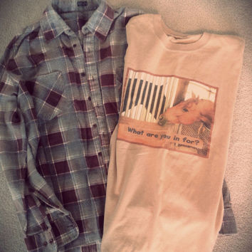 Plaid flannel vintage 1990's shirt ///// vintage t shirt ///// Horse //// indie /// Grunge/// outfit // hipster