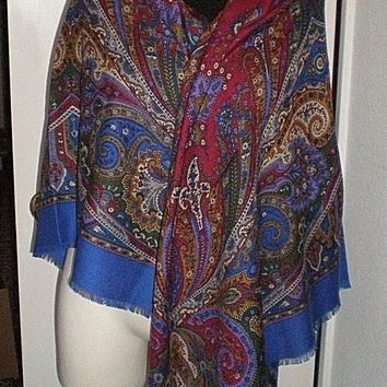 VTG Gucci Floral Paisley Scarf/Shawl/Wrap - Wool/Silk. With Orig. Shop Tag Italy