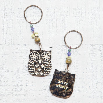 "Natural Life ""Drive Wisely"" Owl Keychain"