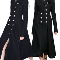 Elegant Black Double Breasted Wool Coat [6407752068]