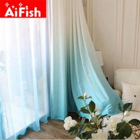 Modern Semi-Shade Thicker Terri Gradient Curtain Fabics Decorative Panel Curtain For Living Room Custom For Kitchen  AP185-30