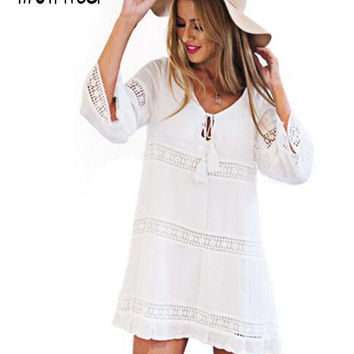 Moirlicer Women Summer Dress Female Sexy Hollow 3/4 Sleeve Lace Boho Beach Dress Casual Loose White Short Mini Dress vestido