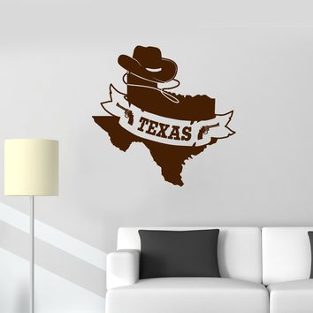 Vinyl Wall Decal Texas Map State Cowboy Home Room Interior Decor Stickers Mural (ig5688)