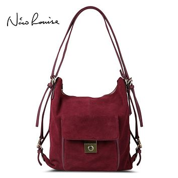 Nico Louise Women Real Split Suede Leather Shoulder Bag,Fashion Female Leisure Nubuck Casual Handbag Large Hobo Travelling Bags
