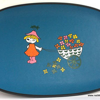 Mid-Century Large Blue Serving Tray  with Design