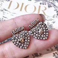 DIOR Hot Sale Women Fashion Heart Shiny Diamond Earrings Accessories Jewelry