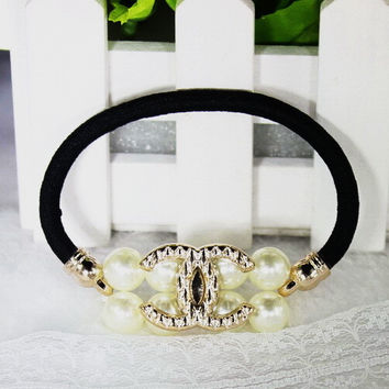 hic Lovely Pearl Skull crownBow Bowknot Hair Band Hair Jewelry Bow Hair Rope Headwear Elastic Hair Accessories