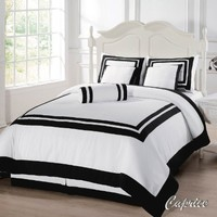 Chezmoi Collection 7 Piece Caprice Square Pattern Hotel Comforter Set, King, White/Black