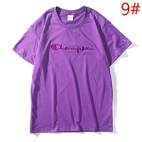 Champion New fashion bust embroidery letter couple top t-shirt