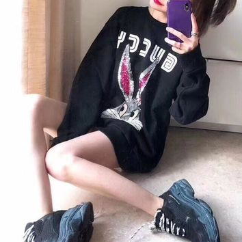 Gucci Fashion Sequin Cartoon Rabbit Long Sleeve Sweater Women Casual Pullover Tops