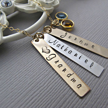 Grandmother's Necklace, Nana Necklace, grandchildren necklace with names, Birthstone, Gold, Silver, Bar Necklace, Hand Stamped Jewelry