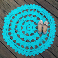 Choose your Color Doily Rug, Crochet Rug, Colorful Rug, Boho Rug, Hipster Rug, Holiday Gifts,