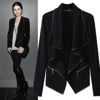 Women Leather Loose Zipper Handkerchief Outerwear Jacket _ 10915