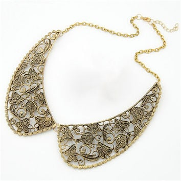 Lemon Value Vintage Boho Collar Fashion Charms Metal Carved Hollow Out Punk Necklace Statement Maxi Women Jewelry Collier A294