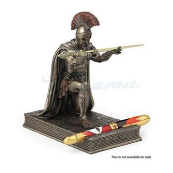 Roman Military Commander Kneeling with Sword Letter Opener Statue Desk Accessory 7.2H
