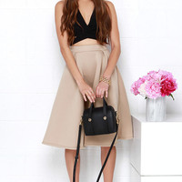 Tres Sophisticated Beige Midi Skirt