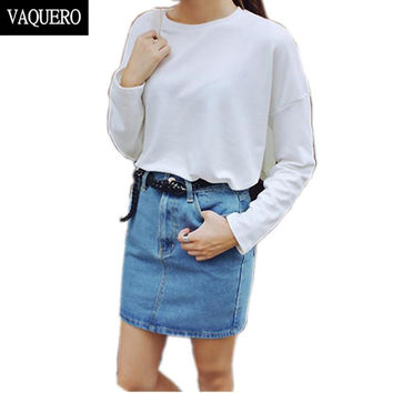 High Waisted Denim Skirt Hot Sale Summer Casual Saias Basic American Style Mini Pencil Jeans Skirts Woman Apparel Blue Denim 27