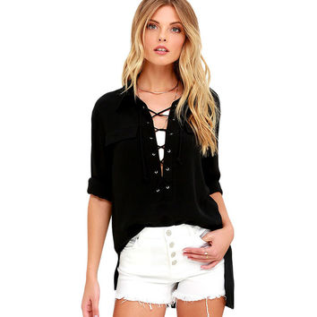 Black Long Sleeve Lace-Up Top LAVELIQ