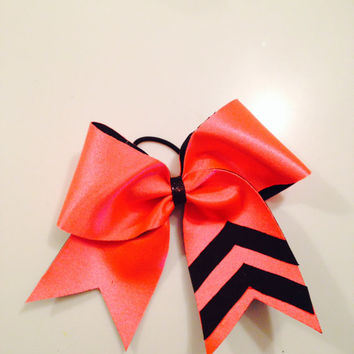 Orange/Black Chevron Cheer Bow by MyWildBows on Etsy