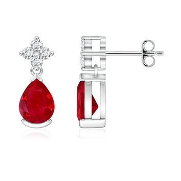 Pear Ruby and Diamond Drop Earrings