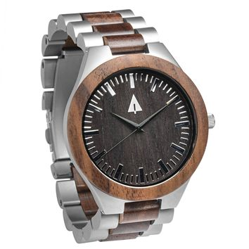 Stainless Steel Wood Watch // Silver Arthur