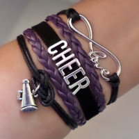 Cheer bracelet, Cheerleader gifts, Team gifts, Team sports, infinity love bracelet, megaphone charm Purple and black color, friendship gift
