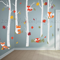 Fall fox wall decal, nursery wall decal, birch tree wall decal, kids wall decal, tree wall decal, childrens wall decal, nursery decals