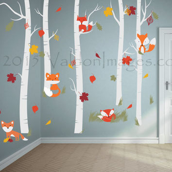 Fall Fox Wall Decal, Nursery Wall Decal, Birch Tree Wall Decal, Kids Wall