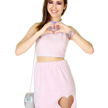 FUZZY PINK HEART SKIRT AND HALTER SET - Pink