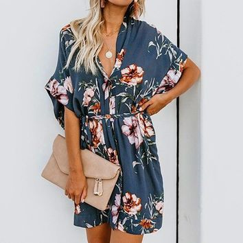 Elegant kimono dress for women summer Half sleeve v neck sash blue dresses Casual mini dress of ladies  vestidos