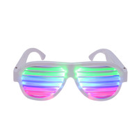 LED Multicolored Glow and Sound Control Rechargeable Glasses