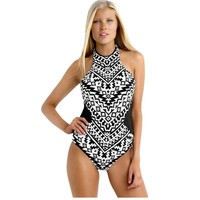 Plus Size Swimwear Women Sexy Black One Piece Swimsuit Bodysuit High Neck Bathing suit Backless Monokini