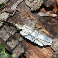 Blue Kyanite blade wire wrapped pendant
