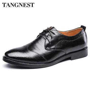 Tangnest Brand Men's Dress Shoes 2017 New Cow Split Leather Business Shoes Man Solid Lace Up Flats Wedding Party Shoes XMP737
