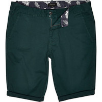 River Island MensGreen skinny chino shorts