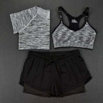 3pcs Women's Sport Bras Padded Yoga Fitness Racerback Vest Shorts Set 04