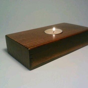 Rectangle Tealight Candle Holder, Wedding Centerpiece, Room Decoration. English Chestnut