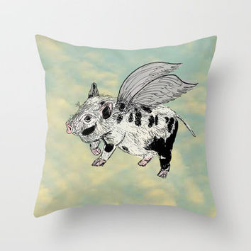 Pigs on the wing (Analog zine) Throw Pillow by Kanika Mathur | Society6