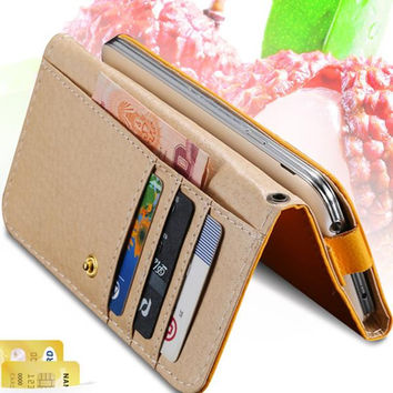 Universal General Wallet Pouch Lychee Grain Leather Mini Handbag For iphone7 6 6S 4.7 4S 5S 5 5C For iPhone SE +Card Holder Case