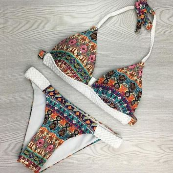 Fashion folk-custom splicing white color halter geometry print two piece bikini