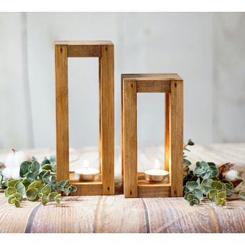 Reclaimed Wood Candle Lantern Centerpiece