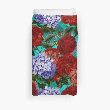 'Red Roses and Blue Hydrangea Vintage Pattern' Duvet Cover by UtArt