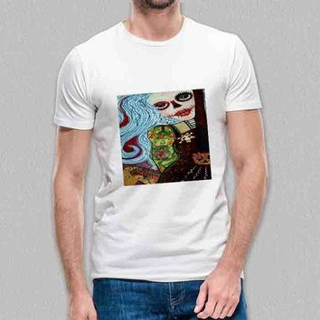 Custom Gildan Men's T-Shirt Hippie Tattoo Pin Up Girl Painting