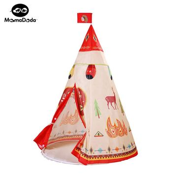 natural indian pattern children toy tent teepees safety tipi portable playhouse for indoor kids outdoor tente enfant play tent