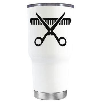 HairStylist Scissor and Comb Silhouette on White 30 oz Tumbler Cup