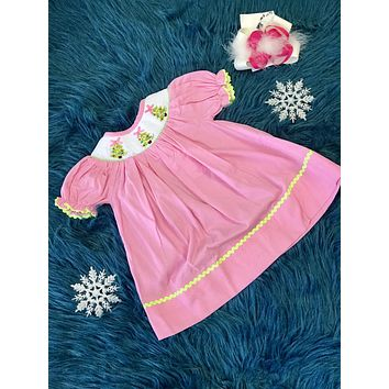 Three Tree  Christmas Smocked Pink Dress