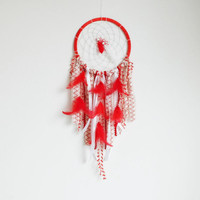 Boho Dreamcatcher, Red Dreamcatcher, Large Dream Catcher, Nursery Decor, Boho Wall Hanging, Boho Home Decor, Crochet Dreamcatcher, Doily