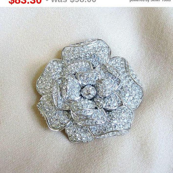 SALE Pave Clear Ice Rhinestones Tiered Flower Brooch Vintage signed Nolan Miller Wedding Bridal