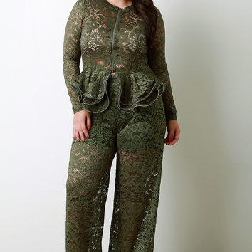 Floral Lace High Waist Wide Leg Pants