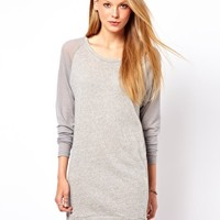 American Vintage Round Neck Dress with Contrast Wool Sleeves at asos.com